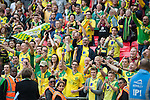 Norwich City 2 Middlesbrough 0, 25/05/2015. Wembley Stadium, Championship Play Off Final. Norwich City Majority Shareholder Delia Smith celebrates with supporters. A match worth £120m to the victors. On the day Norwich City secured an instant return to the Premier League with victory over Middlesbrough in front of 85,656. Photo by Simon Gill.