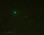 Comet 46P/Wirtanen ©2018 James D Peterson.  Various news articles mentioned that this comet would be visible this month (Dec., 2018), so of course I had to go out and capture it.  This image was made in my back yard (Sedona, Arizona) at 4:36 AM MST on Dec. 19.  I captured eight 2.5 second exposures with my Nikon D850 camera at f2.8, ISO 12800 using a Tamron 70-200mm lens at 200mm.  To minimize the background noise that's inevitable at such high sensitivities, I manually aligned the images (because the stars moved a bit between farmes)  and averaged them together.  In this process, the light from the stars and the comet in the 8 images adds together while the background noise pixels, being random, tend to get averaged out.<br /> <br /> It's not the most spectacular comet I've ever captured (no tail), but it's still an interesting green celestial fuzzball.  Enjoy!