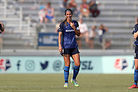 CARY, NC - SEPTEMBER 12: Abby Erceg #6 of the North Carolina Courage during a game between Portland Thorns FC and North Carolina Courage at Sahlen's Stadium at WakeMed Soccer Park on September 12, 2021 in Cary, North Carolina.