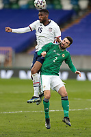BELFAST, NORTHERN IRELAND - MARCH 28: Jordan Siebatcheu #16 of the United States goes up for a header during a game between Northern Ireland and USMNT at Windsor Park on March 28, 2021 in Belfast, Northern Ireland.