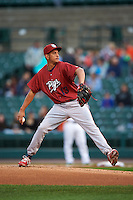 Lehigh Valley IronPigs pitcher Severino Gonzalez (13) delivers a pitch during a game against the Rochester Red Wings on May 15, 2015 at Frontier Field in Rochester, New York.  Rochester defeated Lehigh Valley 5-4.  (Mike Janes/Four Seam Images)