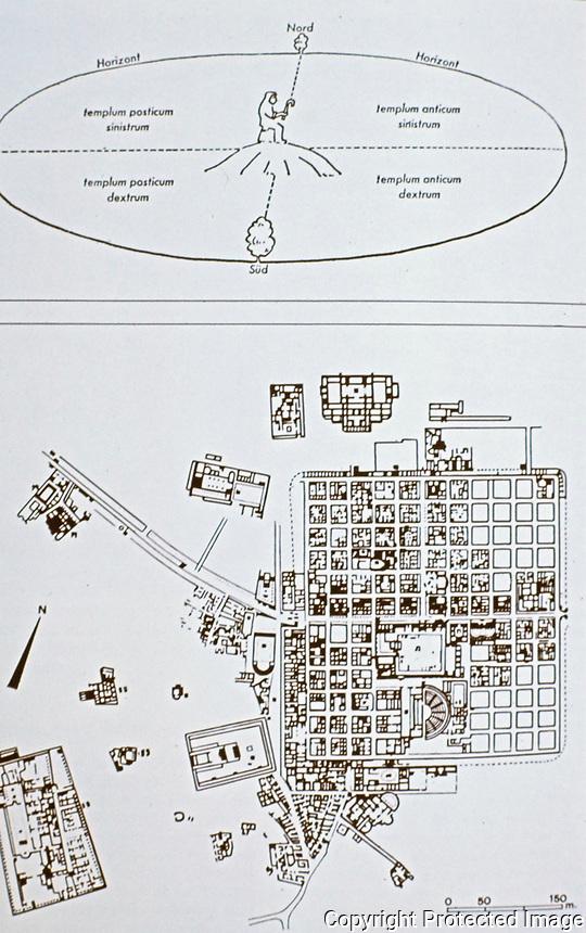 The Roman Cosmos and the Roman City diagram (Timgad), 100 BCE