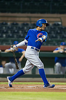 AZL Cubs center fielder Jose Gutierrez (91) follows through on his swing against the AZL Giants on September 5, 2017 at Scottsdale Stadium in Scottsdale, Arizona. AZL Cubs defeated the AZL Giants 10-4 to take a 1-0 lead in the Arizona League Championship Series. (Zachary Lucy/Four Seam Images)