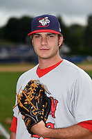 Auburn Doubledays pitcher Austen Williams (26) poses for a photo before a game against the Batavia Muckdogs on August 31, 2014 at Dwyer Stadium in Batavia, New York.  Batavia defeated Auburn 7-6.  (Mike Janes/Four Seam Images)