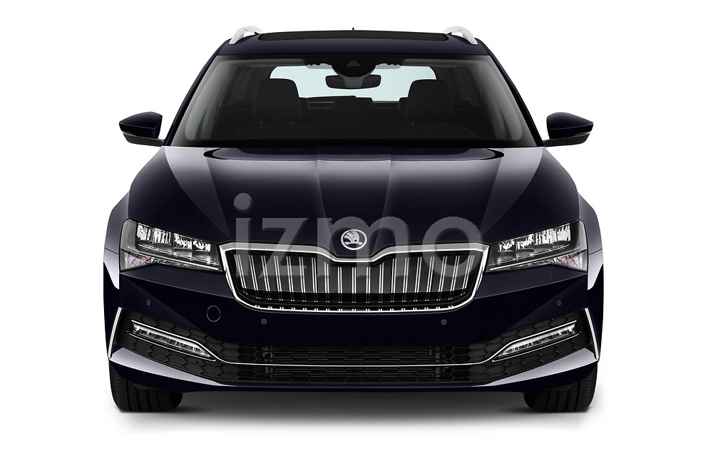 Car photography straight front view of a 2020 Skoda Superb-Combi-iV Style 5 Door Wagon Front View