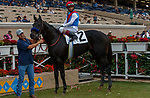 DEL MAR, CA  AUGUST 29:#2 Medina Spirit ridden by John Velasquez, in the winners circle after winning the Shared Belief Stakes on August 29, 2021 at Del Mar Thoroughbred Club in Del Mar, CA. (Photo by Casey Phillips/Eclipse Sportswire/CSM)