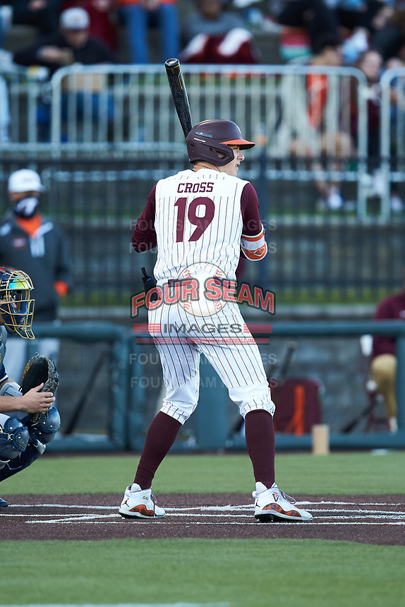 Gavin Cross (19) of the Virginia Tech Hokies at bat against the Virginia Tech Hokies at English Field on April 16, 2021 in Blacksburg, Virginia. (Brian Westerholt/Four Seam Images)