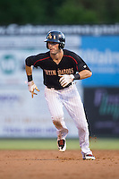 Louie Lechich (21) of the Kannapolis Intimidators takes off for third base during the game against the West Virginia Power at Intimidators Stadium on July 3, 2015 in Kannapolis, North Carolina.  The Intimidators defeated the Power 3-0 in a game called in the bottom of the 7th inning due to rain.  (Brian Westerholt/Four Seam Images)