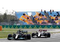 8th October 2021; Formula 1 Turkish Grand Prix 2021 free practise at the Istanbul Park Circuit, Istanbul;  Lewis Hamilton GBR, Mercedes-AMG Petronas F1 Team and Antonio Giovinazzi ITA, Alfa Romeo Racing ORLEN