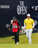 210719 | The 148th Open - Final Round<br /> <br /> Brooks Koepka of USA and his caddie Rortrush man Ricky Elliott on the 1st during the final round of the 148th Open Championship at Royal Portrush Golf Club, County Antrim, Northern Ireland. Photo by John Dickson - DICKSONDIGITAL