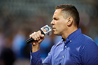 Congressman Ross Spano sings the national anthem before a Florida State League game between the Tampa Tarpons and Lakeland Flying Tigers on April 5, 2019 at Publix Field at Joker Marchant Stadium in Lakeland, Florida.  Lakeland defeated Tampa 5-3.  (Mike Janes/Four Seam Images)