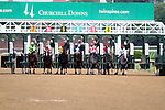 Headache with Miguel Mena breaks from the 1 hole at the start of the 9th race at Churchill Downs. 05.21.2011