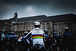 World Champion Julian Alaphilippe (FRA) and Deceuninck-Quick Step at the team presentations before the start of the 107th edition of Liege-Bastogne-Liege 2021, running 259.1km from Liege to Liege, Belgium. 25th April 2021.  <br /> Picture: A.S.O./Aurelien Vialatte | Cyclefile<br /> <br /> All photos usage must carry mandatory copyright credit (© Cyclefile | A.S.O./Aurelien Vialatte)