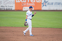 Ogden Raptors first baseman Dillon Paulson (14) during a Pioneer League game against the Great Falls Voyagers at Lindquist Field on August 23, 2018 in Ogden, Utah. The Ogden Raptors defeated the Great Falls Voyagers by a score of 8-7. (Zachary Lucy/Four Seam Images)