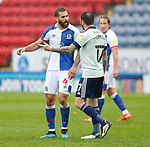 03.10.20 - Blackburn Rovers v Cardiff City - Sky Bet Championship - Lee Tomlin of Cardiff walks off having received a 2nd yellow and pushes Bradley Johnson of Blackburn Rovers