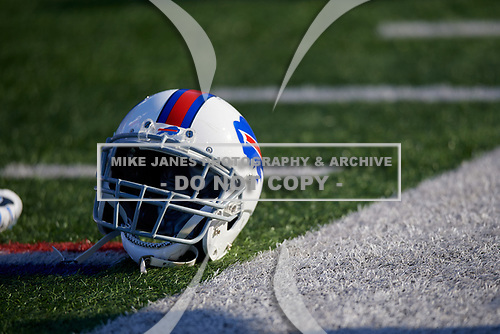 Buffalo Bills helmet on the field during pre-game warmups before an NFL football game against the New York Jets, Sunday, December 9, 2018, in Orchard Park, N.Y.  (Mike Janes Photography)