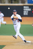 Bucknell Bison second baseman Joe Ogren (13) makes a throw to first base against the Georgetown Hoyas at Wake Forest Baseball Park on February 14, 2015 in Winston-Salem, North Carolina.  The Hoyas defeated the Bison 8-5.  (Brian Westerholt/Four Seam Images)