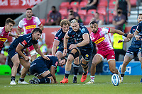 4th June 2021; AJ Bell Stadium, Salford, Lancashire, England; English Premiership Rugby, Sale Sharks versus Harlequins; Joe Marchant of Harlequins and Jean-Luc du Preez of Sale Sharks chase a lose ball