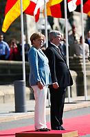 August 15 2012 - FILE PHOTO - <br /> German Chancellor Angela Merkel meeting Canadian Prime Minister Steven Harper at the House of Commons in Ottawa.<br /> <br /> Photo (c) Raffi Kirdi - Images Distribution