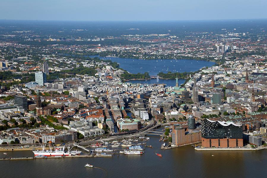 Hamburg Innenstadt von Hafen bis zur Alster : EUROPA, DEUTSCHLAND, HAMBURG, (EUROPE, GERMANY), 31.08.2016:<br /> Hamburg Innenstadt von Hafen bis zur Alster