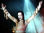 Marilyn Manson on stage on Halloween night at Convention Hall in Asbury Park, New Jersey...