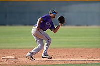 Colorado Rockies second baseman Scott Burcham (53) during a Minor League Spring Training game against the Chicago Cubs at Sloan Park on March 27, 2018 in Mesa, Arizona. (Zachary Lucy/Four Seam Images)