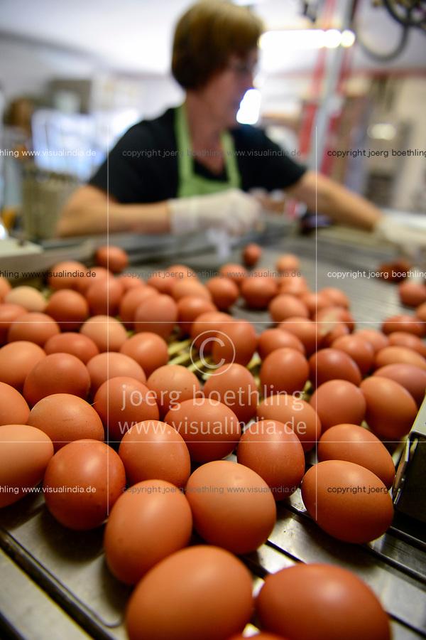 GERMANY, chicken farm and egg production / DEUTSCHLAND, Legehennenbetrieb Brunnenhof, Eierproduktion, Sortierung und Verpackung