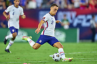 5th September 2021; Nashville, TN, USA;  United States defender Sergino Dest shoots at goal during a CONCACAF World Cup qualifying match between the United States and Canada on September 5, 2021 at Nissan Stadium in Nashville, TN.