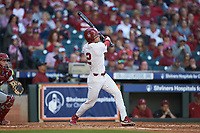 Trent Brown (2) of the Oklahoma Sooners follows through on his swing against the Arkansas Razorbacks in game two of the 2020 Shriners Hospitals for Children College Classic at Minute Maid Park on February 28, 2020 in Houston, Texas. The Sooners defeated the Razorbacks 6-3. (Brian Westerholt/Four Seam Images)