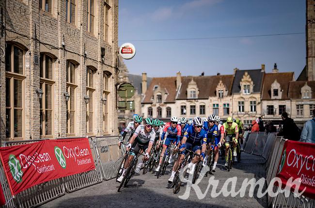 peloton rolling through Veurne<br /> <br /> 45th Oxyclean Classic Brugge-De Panne 2021 (ME/1.UWT)<br /> 1 day race from Bruges to De Panne (204km)<br /> <br /> ©kramon
