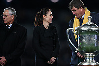 NZ Prime Minister Jacinda Ardern after the Bledisloe Cup rugby match between the New Zealand All Blacks and Australia Wallabies at Eden Park in Auckland, New Zealand on Saturday, 17 August 2019. Photo: Simon Watts / lintottphoto.co.nz