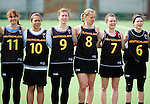 FRANKFURT AM MAIN, GERMANY - April 14: (L-R) Julia Duerr #11, Nora Schroeder #10, Kristina Schaefer #9, Inga Hupka #8, Pia Balz #7 and Mareile Kriwall #6 of Germany during the national anthem before the Deutschland Lacrosse International Tournament match between Germany vs Austria on April 14, 2013 in Frankfurt am Main, Germany. Germany won, 10-4. (Photo by Dirk Markgraf)