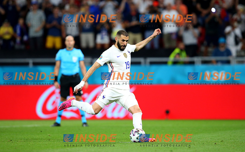 BUDAPEST, HUNGARY - JUNE 23: Karim Benzema of France scores their side's first goal from the penalty spot during the UEFA Euro 2020 Championship Group F match between Portugal and France at Puskas Arena on June 23, 2021 in Budapest, Hungary. (Photo by Alex Livesey - UEFA/UEFA via Getty Images)<br /> Photo Uefa/Insidefoto ITA ONLY