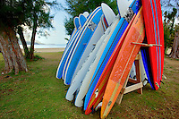 Stcked surfboards. Hanalei Bay. Kauai, Hawaii.