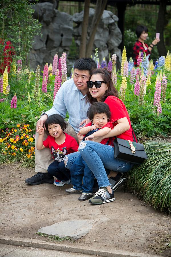 Yangzhou, Jiangsu, China.  Young Family Posing for a Picture, Slender West Lake Park.