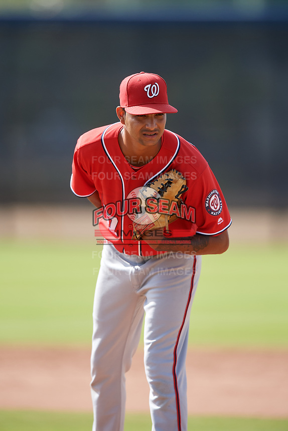 Washington Nationals pitcher Angel Guillen (67) doing pitching drills before a Minor League Spring Training game against the Miami Marlins on March 28, 2018 at FITTEAM Ballpark of the Palm Beaches in West Palm Beach, Florida.  (Mike Janes/Four Seam Images)