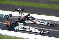 Aug 9, 2020; Clermont, Indiana, USA; NHRA top fuel driver Justin Ashley (near) defeats Antron Brown during the Indy Nationals at Lucas Oil Raceway. Mandatory Credit: Mark J. Rebilas-USA TODAY Sports