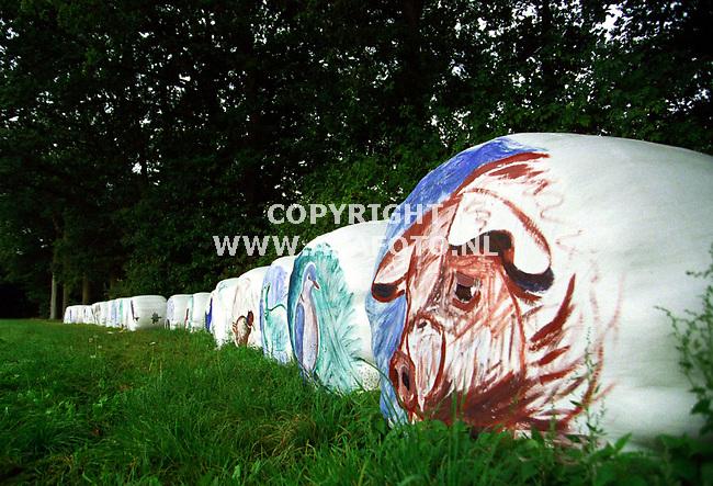 barchem 160999 kunst in het landschap. beschilderde hooibalen van renee goorman uit lochem.foto frans ypma.