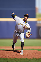Surprise Saguaros pitcher Edgar Santana (29), of the Pittsburgh Pirates organization, during a game against the Peoria Javelinas on October 12, 2016 at Peoria Stadium in Peoria, Arizona.  The game ended in a 7-7 tie after eleven innings.  (Mike Janes/Four Seam Images)