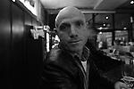 Albanian tough guy at Herkules Bar in Darmstadt, Germany. Jan. 6, 2008.