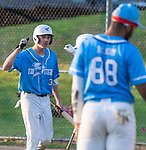 PROSPECT, CT 072231JS24 Torrington's Jake Reynolds (3) is congratulated by teammates after coming in to score during the first round of the Tri-State Baseball Playoffs game against  Blasius Chevrolet Friday at Hotchkiss Field in Prospect. <br /> Jim Shannon Republican American