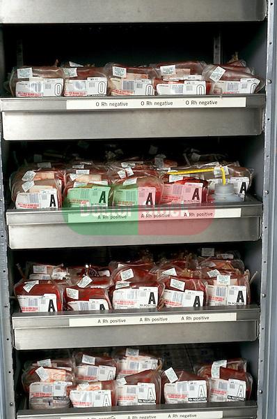 Pints of blood at hospital blood bank