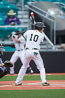 Casey Schroeder (10) of the Coastal Carolina Chanticleers at bat against the Bryant Bulldogs at Springs Brooks Stadium on March 13, 2015 in Charlotte, North Carolina.  The Chanticleers defeated the Bulldogs 7-2.  (Brian Westerholt/Four Seam Images)