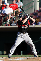 Chris Bisson #29 of the Lake Elsinore Storm bats against the Inland Empire 66'ers at San Manuel Stadium on July 15, 2012 in San Bernardino, California. Inland Empire defeated Lake Elsinore 4-3. (Larry Goren/Four Seam Images)