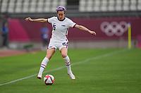 KASHIMA, JAPAN - JULY 27: Megan Rapinoe #15 of the United States traps the ball during a game between Australia and USWNT at Ibaraki Kashima Stadium on July 27, 2021 in Kashima, Japan.