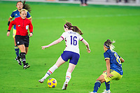 ORLANDO, FL - JANUARY 18: Rose Lavelle #15 of the USWNT dribbles the ball during a game between Colombia and USWNT at Exploria Stadium on January 18, 2021 in Orlando, Florida.