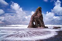 Ruby Beach and wave. Olympic National Park, Washington