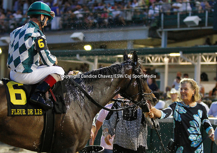 June 13, 2015:  Frivilous and jockey John Court win the Fleur de Lis Handicap Grade 2 $200,000 at Churchill Downs for trainer Victoria Oliver and owner G. Watts Humphrey Jr..  Candice Chavez/ESW/CSM
