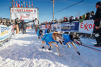 Ray Redington Jr. leaves the re-start line of the 2017 Iditarod in Fairbanks, Alaska at Pike's Landing on Monday March 6, 2017.<br /> <br /> Photo by Jeff Schultz/SchultzPhoto.com  (C) 2017  ALL RIGHTS RESVERVED