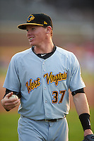 West Virginia Black Bears second baseman Mitchell Tolman (37) during warmups before a game against the Batavia Muckdogs on August 31, 2015 at Dwyer Stadium in Batavia, New York.  Batavia defeated West Virginia 5-4.  (Mike Janes/Four Seam Images)